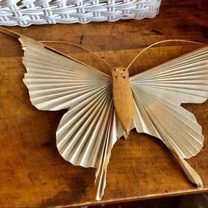 Vintage Wall Art - Vtg Japanese folded paper and wood butterfly, fan